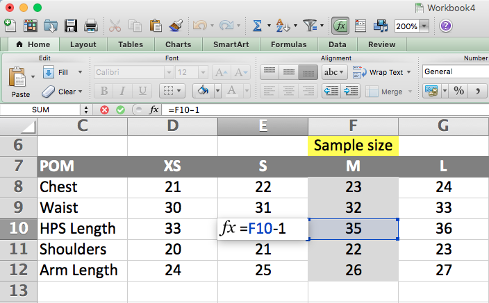 Grading rule sheet on Excel