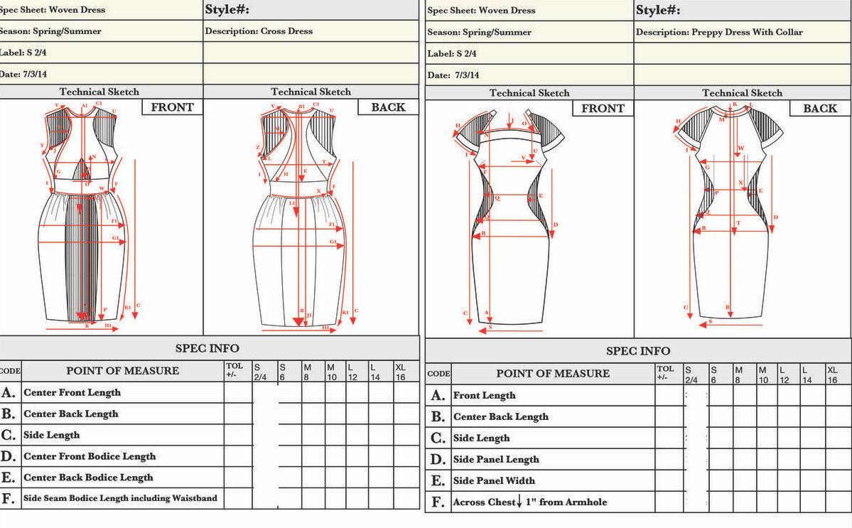 Garment Construction detail sheet
