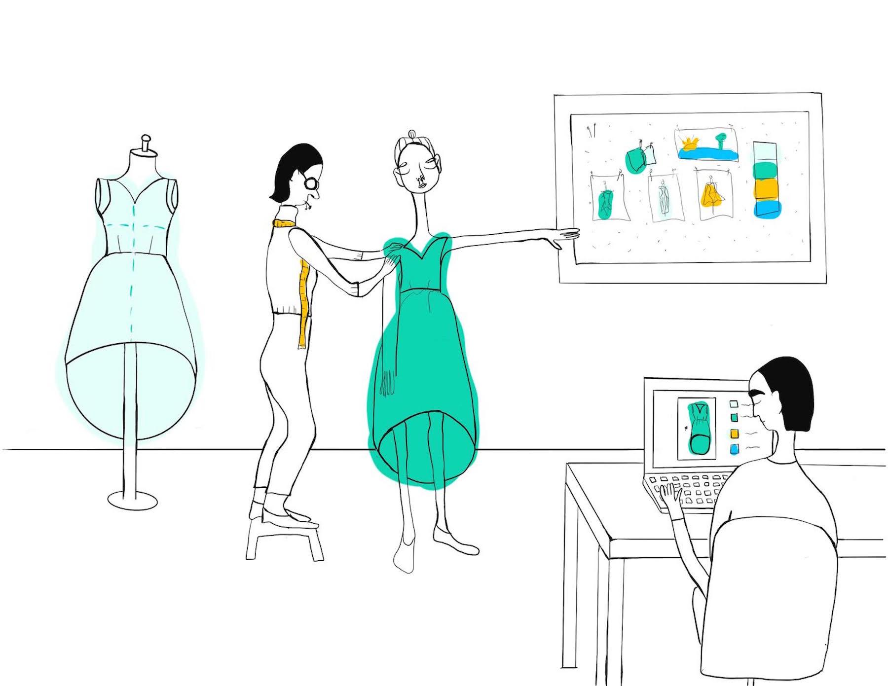 Cover image; Designer inspecting sample on a fit model