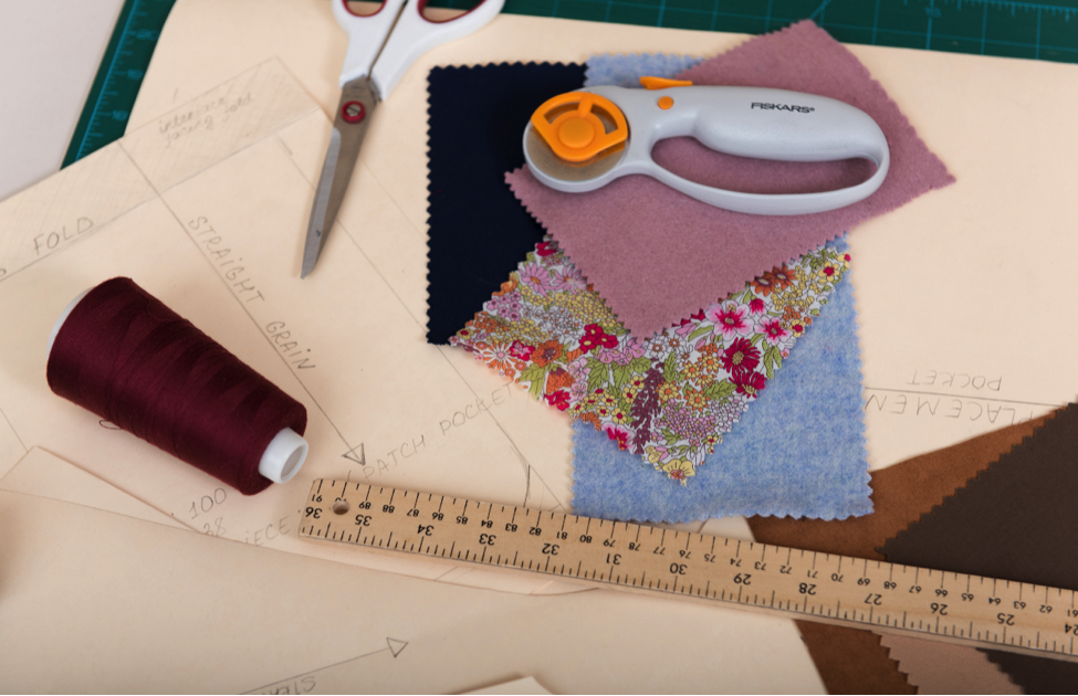 Fabric swatches and trims