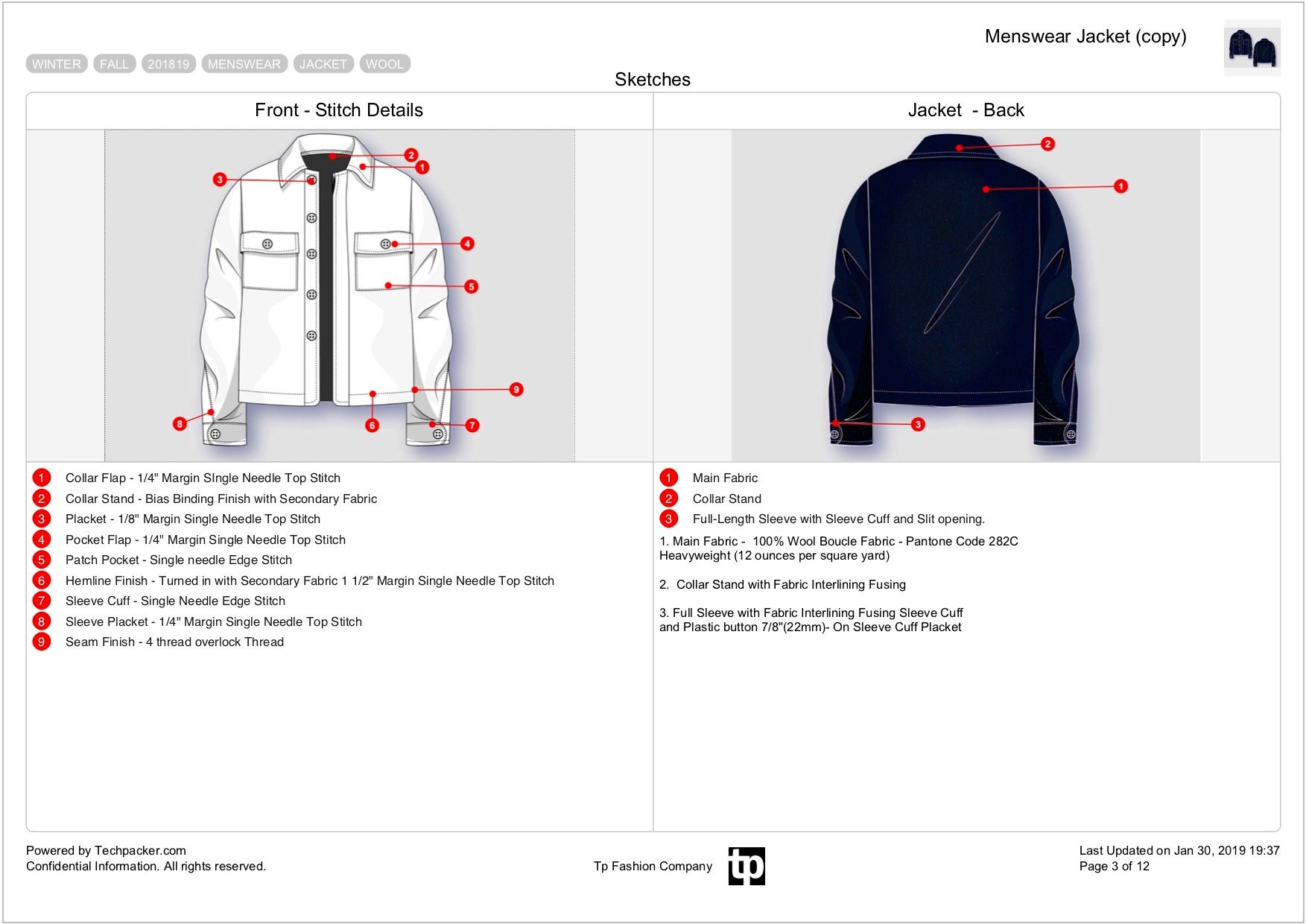 Tech pack sheet with Stitch details