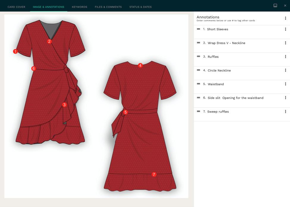 Wrap dress technical sketch