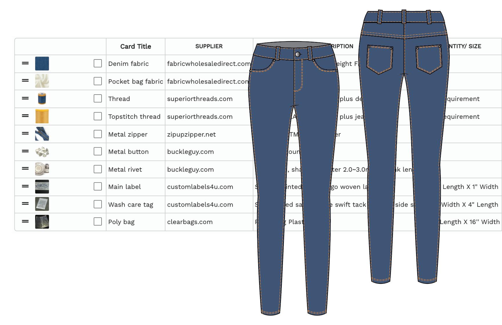 Denim Pants Bill Of Materials